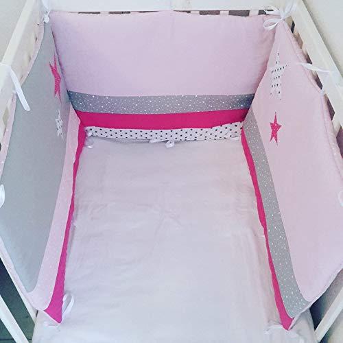 tour de lit bébé 3 pans en rose poudré gris et fushia ...