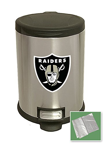 New 3.1 Gallon Stainless Steel Step Trash Can Waste Basket Featuring Your Choice of a Football Team Logo (Raiders) (Wastebasket Raiders)