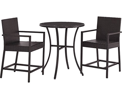 Crosley Furniture Palm Harbor 3-Piece Outdoor Wicker Bistro Dining Set - Brown - Bar Harbor Rattan
