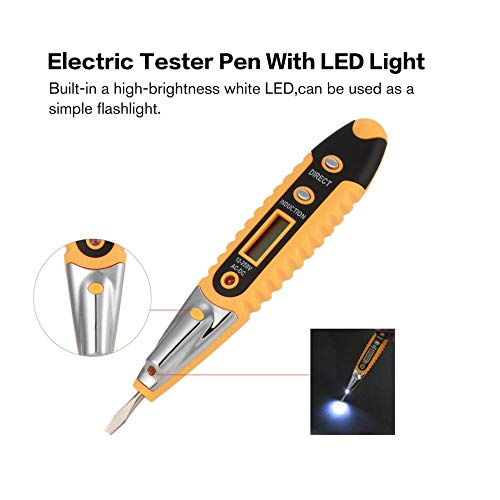 AC-2 Non-Contact Tester Pen Induction Test Pencil Electric Tester Pen with LED Light Voltage Electric Detectors Tester Meter Yellow