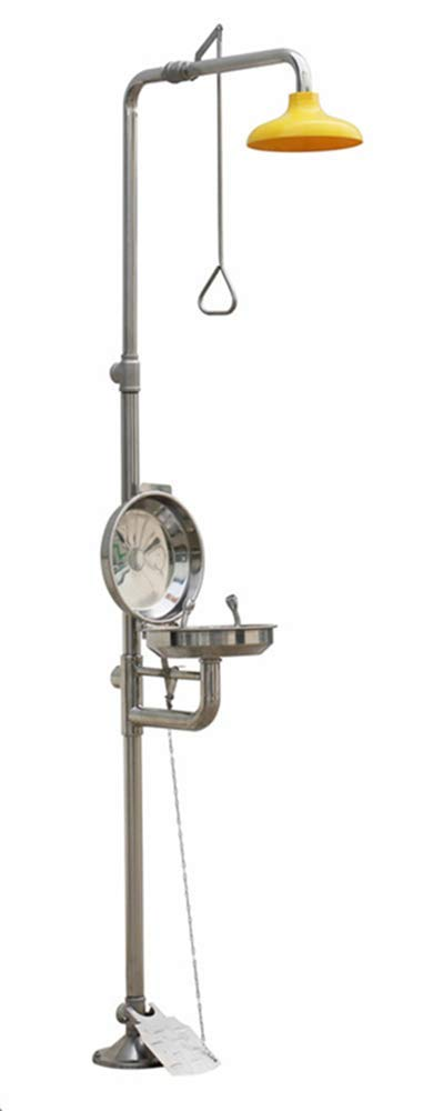 CGOLDENWALL Combination Emergency Shower Eyewash Station Emergency Eye Wash Eyewash Station Emergency Shower System Eye Face Wash Washer Station with Eye Wash Cover (304 Stainless Steel with Pedal) by CGOLDENWALL
