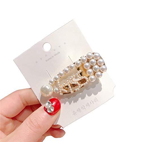 Yinpinxinmao Fashion Women's Barrette Hollow Letter Faux Pearl Hairpin Hair Clip Headwear Kiss -