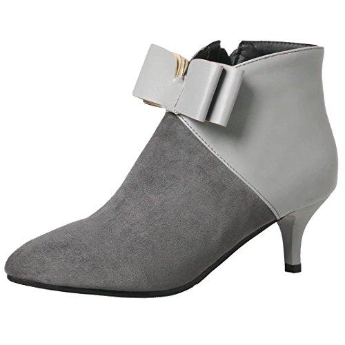AIYOUMEI Damen Kleiner Absatz Stiefeletten mit Schleife Herbst-Winter Stiefeletten Schuhe Grau