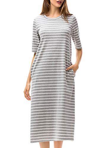 MessBebe T Shirt Dress for Women Striped Midi Dresses Scoop Neck Gray White Stripes M