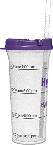 Hydr-8 32oz. Car Friendly Time Marked Water Bottle Purple