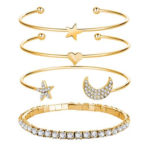 Hotesea Four Sets of Gold Silver Bracelet for Women Gold ()