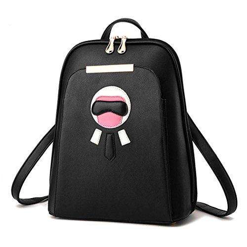 Para mujer Bolsos mochila Bolsos bandolera Carteras de mano Mochila escolar Bolsa para portátil Cuero Piszkosfehér Fekete