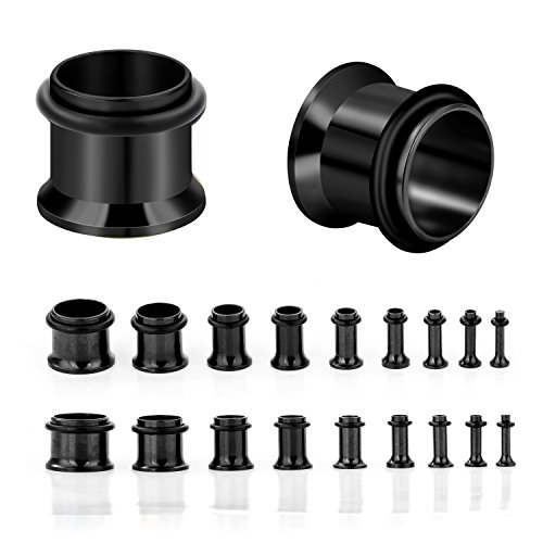 CABBE KALLO 18PCS Ear Plugs Stretching Kit Stainless Steel Gauge Tunnel Set Single Flared Expanders 14G-00G (Black) Gauge Expander Ear Tunnel