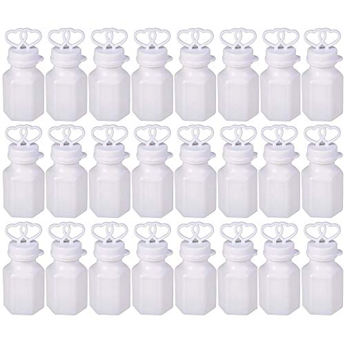 Kicko 0.6 Oz Double Heart Bubble Bottle - 24 Pieces of White Blob Holders - Perfect for Weddings, Water Gun Refill, Bath Time, Novelty Toys, Party Favor and ()