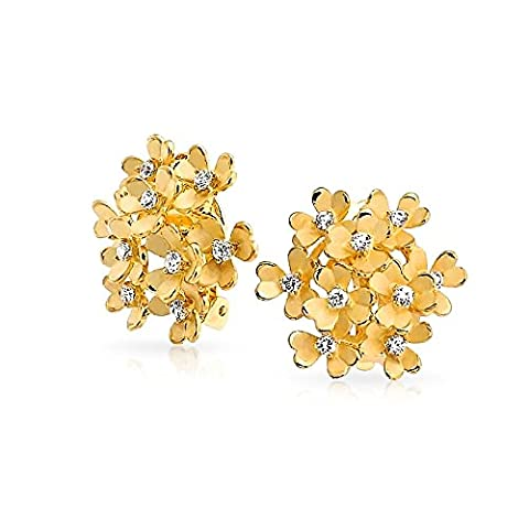 Bling Jewelry Matte Gold Plated CZ Flower Cluster Clip On Earrings - Bling Fiore