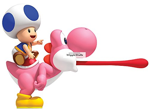 Mario Wall Kart Removable Decorations Wii (9 Inch Blue Toad Pink Yoshi Luigi Super Mario Bros Brothers Removable Wall Decal Sticker Art Nintendo Wii Home Kids Room Decor Decoration - 9 1/2 by 6 1/2)