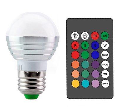 Bulbright RGB - foco LED con mando a distancia (3 W, E26/E27, cambio de color), color mágico, E26 Base, Multi Color