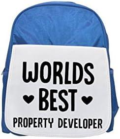 Mochila infantil azul con estampado de la marca Worlds Best Property Technologer, mochilas bonitas y pequeñas, bonita mochila negra, mochila negra, ...
