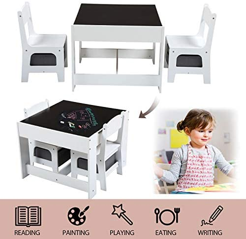 Sandinrayli 3-in-1 Wood Kids Table And 2Chairs Set, Children Activity Desk With Stroage Drawer And Box, Blackboard For Toddlers Playing, Drawing, Reading, 3-Piece Kiddy-Sized Furniture