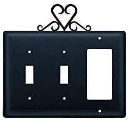 Village Wrought Iron Essg-51 Switch Cover Triple - Heart