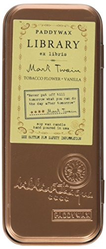 Soy Wax Travel Tin Candle (Paddywax Candles Library Collection Mark Twain Scented Travel Tin Soy Wax Candle (Tobacco Flowers and Vanilla) set of)