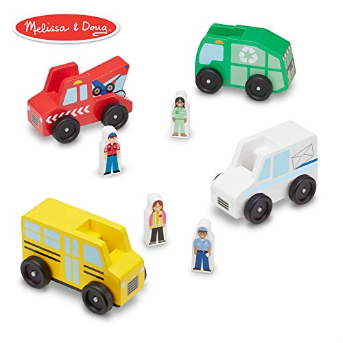 (Melissa & Doug Community Vehicles Play Set - Classic Wooden Toy With 4 Vehicles and 4 Play Figures)