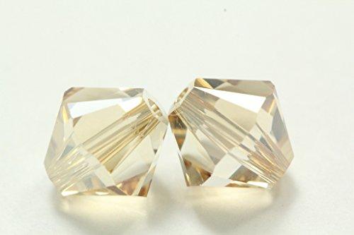 50 Golden Shadow 6mm Genuine Preciosa Czech Crystal Faceted Bi-Cone Beads Great Alternative For Swarovski Elements 5301 - Swarovski Bead Caps