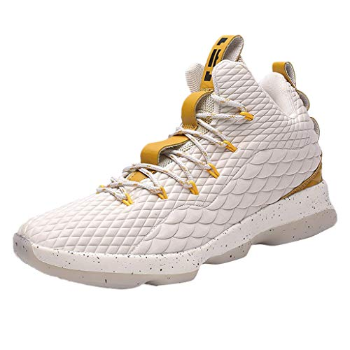 Corriee Men's Basketball Shoes Fashion Sneakers Athletic Outdoor Sport Shoes Beige