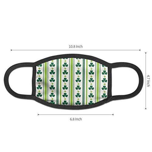 Clovers Vertical Lines and Dots Irish Traditional Floral Pattern Anti-Allergies Earloop Face Mask for Women Men Kids Windproof Face and Nose Cover - Reusable & Washable