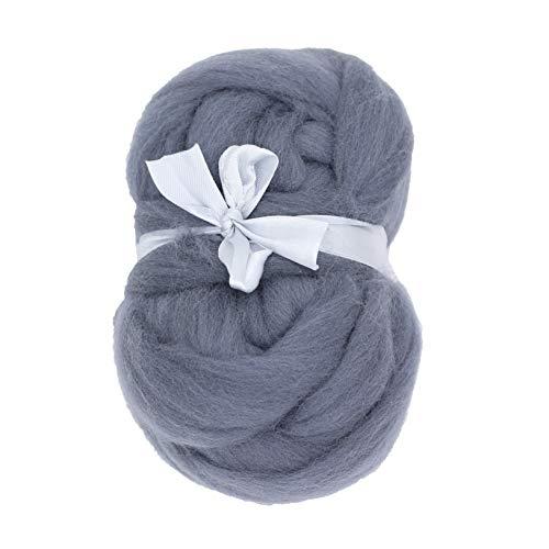 Merino Wool Roving Top - 21um Needle Felting DIY Craft Materials (-3.5OZ) (Light Gray) ()