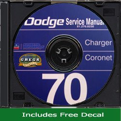 1970 Dodge Charger Coronet Shop Service Repair Manual Set CD 70 (Includes Decal)