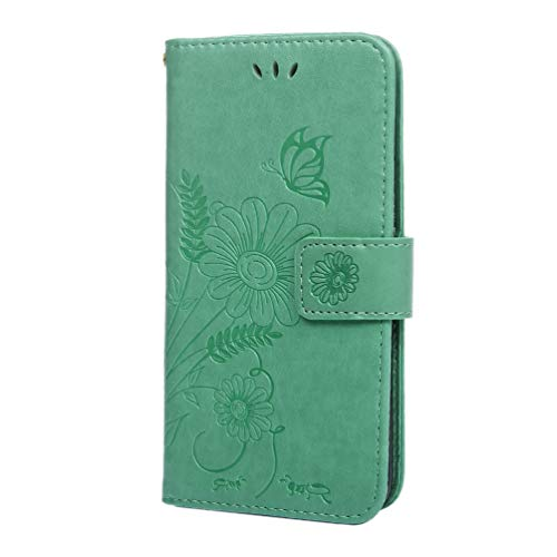 Case for Samsung Galaxy S10e, Premium PU Flip Wallet Leather Case Embossed Ant Butterfly Flower with Magnetic Protective Cover Card Slots and Detachable Wrist Strap TPU Soft Bumper Cover Mint Green