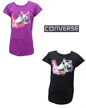 4f40d57d45f3 Converse Girls Purple Cactus Jet Black T-Shirt Boot 100% Genuine 3-7Y   Amazon.co.uk  Clothing