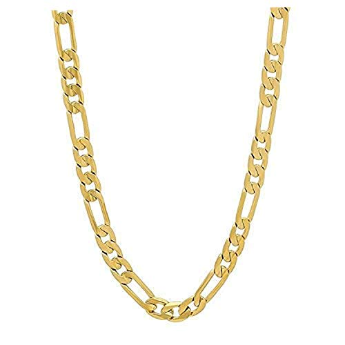 Gold Figaro Chain 5MM Fashion Jewelry Necklaces, 24K Overlay, Resists Tarnishing, OWN for Life (28)