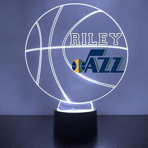 (Utah Handmade Acrylic Personalized Jazz NBA Basketball LED Night Light - Remote, 16 Color Option, Great Personalized Gift, Engraved)