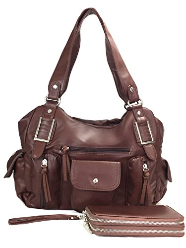 Double Front Pocket Handbag - ZzFab Super Soft Multi Pockets Wash Leather Bag Set Brown