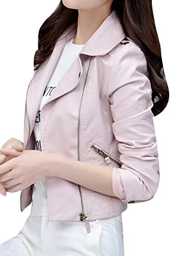 TRENDY XU Womens Slim Faux Leather Jacket Moto Zip Up Cropped Coat (L, Pink)