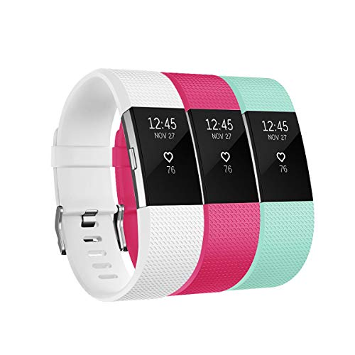 Fundro Compatible with Fitbit Charge 2 Bands, Soft Accessory Replacement Wristband Strap with Secure Metal Clasp for Fitbit Charge 2 (A# 3-Pack(White+Hot Pink+Tiffany Blue, Large (6.7