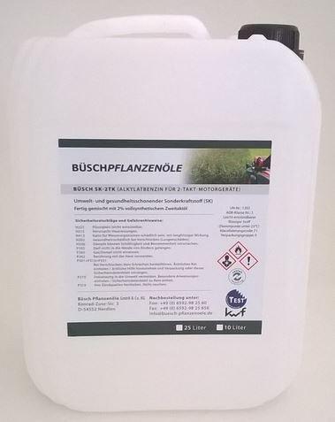 BÜ SCH SK-2TK Alkylatbenzin fü r 2-Takt-Motorgerä te - Fertiggemisch 1:50 - Sonderkraftstoff mit kwf-Prü fzeichen - 25 Liter BÜSCH