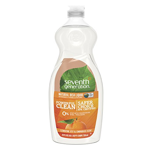 Seventh Generation Dish Liquid, Clementine Zest & Lemongrass Scent, 25 oz (Pack of 6)