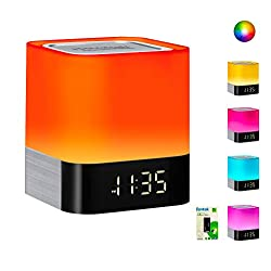 Portable Bluetooth Speaker + Music Reactive Multi-color Touch Sensor Night Light Lamp, with LED Display, Alarm Clock, Micro SD Card & USB & AUX Slots for Smart Phone, MP3, iPad and Tablet