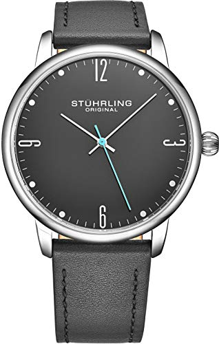 Stuhrling Original Mens Wrist Watch Grey Leather Strap - Grey Dial with Blue Accents and Silver Case, 3997B Watches for Men Collection