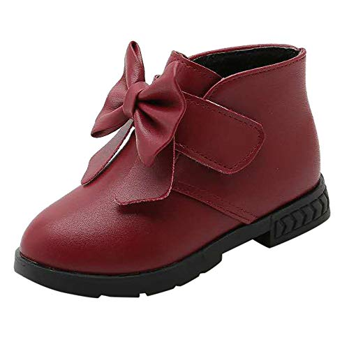 JIN+D Child Kid Baby Girls Bowknot Warm Martin Boots Princess Winter Dress Ankle Booties Shoes]()