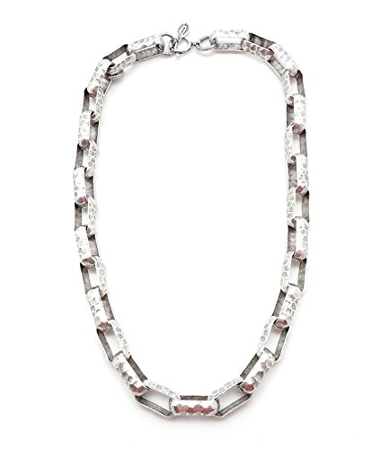 Catherine Popesco Large Oval Hammered Link Silver Plated Necklace 17-18