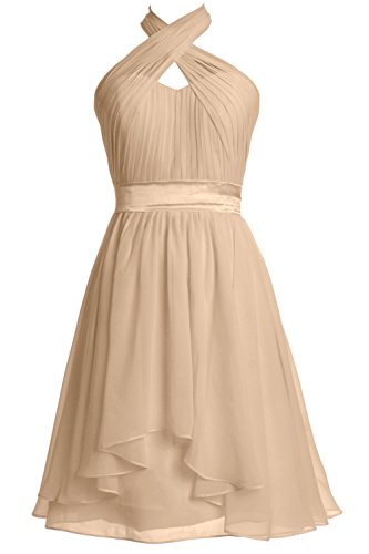 MACloth Women Halter Short Bridesmaid Dress Chiffon Cocktail Party Formal Gown Champagne