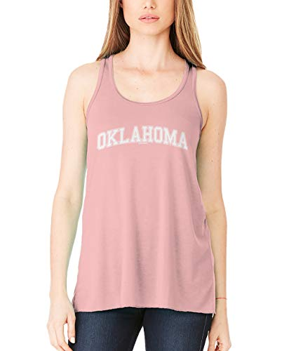 HAASE UNLIMITED Oklahoma - State School University Sports Ladies Flowy Tank Top (Pink, Small)