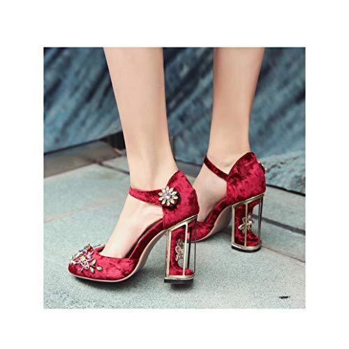 Energyers Genuine Leather Heels Ankle Strap Crystal Dress Pumps Shoes Flower Fretwork High Heels Wedding Shoes for Bride