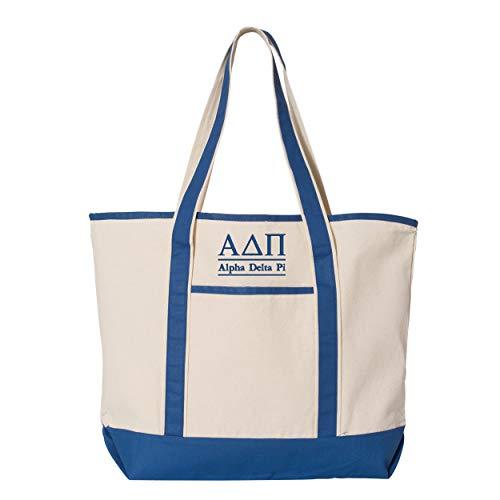 Alpha Delta Pi Large Canvas Tote Bag