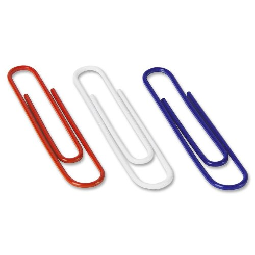 Acco Nylon Coated Jumbo Paper Clips, Red/White/Blue Assortment, 150 Count