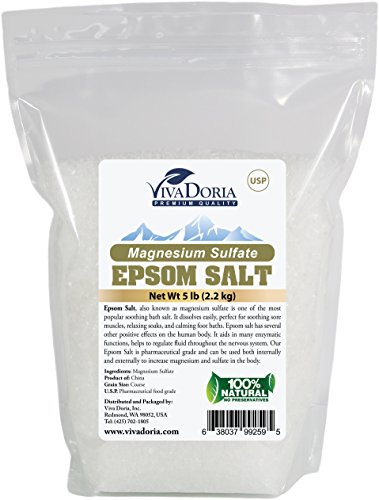 Epsom Salt Magnesium Sulfate Bath Salt Coarse Grain (3-4 MM) (5 lbs)