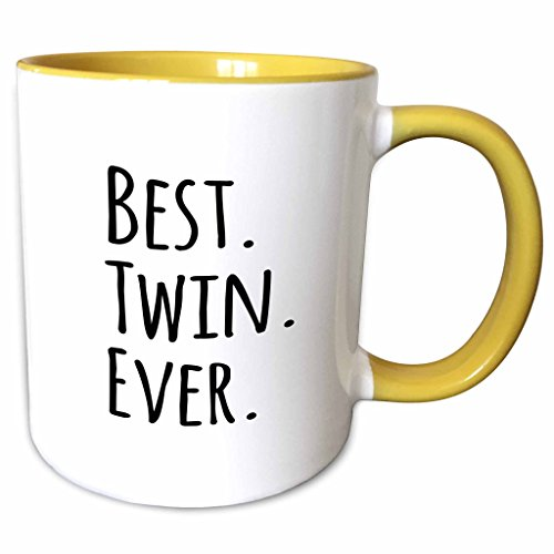 3dRose InspirationzStore Typography - Best Twin Ever - gifts for twin brothers or sisters - siblings - family and relative specific gifts - 15oz Two-Tone Yellow Mug (15 Ounce Photo Mug)