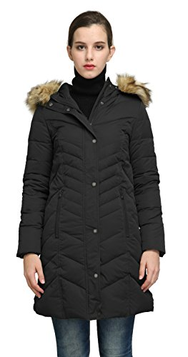 Orolay Women's Thickened Mid-Long Down Jacket With Hood YRF8018Q (2XL, Black)