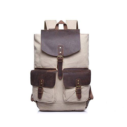 BAGEHUA 男性及び女性のキャンバスバッグ、カジュアルな旅行、大容量ファッション男性のバックパックは、女性の耐久性に優れた屋外ピクニックバックパック(長 28 cm 、幅 14 センチ、高さ 48 cm ) B076KC29YN Beige Beige