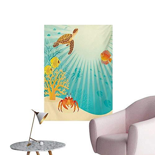 (Anzhutwelve Marine Wallpaper Tropical Fishes Crab Loggerhead Sea Turtle Oceanic Sun Reflecting Beach CartoonMulticolor W24 xL36 Cool Poster )