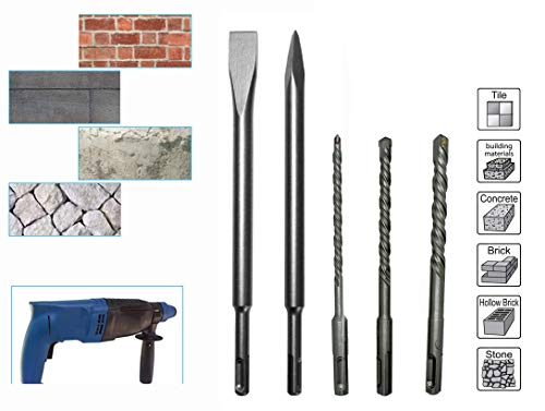 Digital Craft 5pcs Hammer Drill Bit Tools SDS Shank Electric Bit SDS Plus Rotary Hammer Impact Drill Bits Concrete Masonry Drill Size 6×110 8×110 10×110 Flat Chisel,Point Chisel 14×250 Price & Reviews